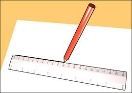 drawn ruler and pencil