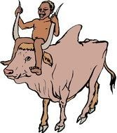 Colorful cartoon drawing of the man on the cow clipart