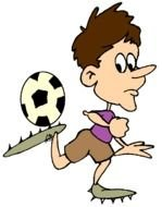 Cartoon football player with the ball clipart
