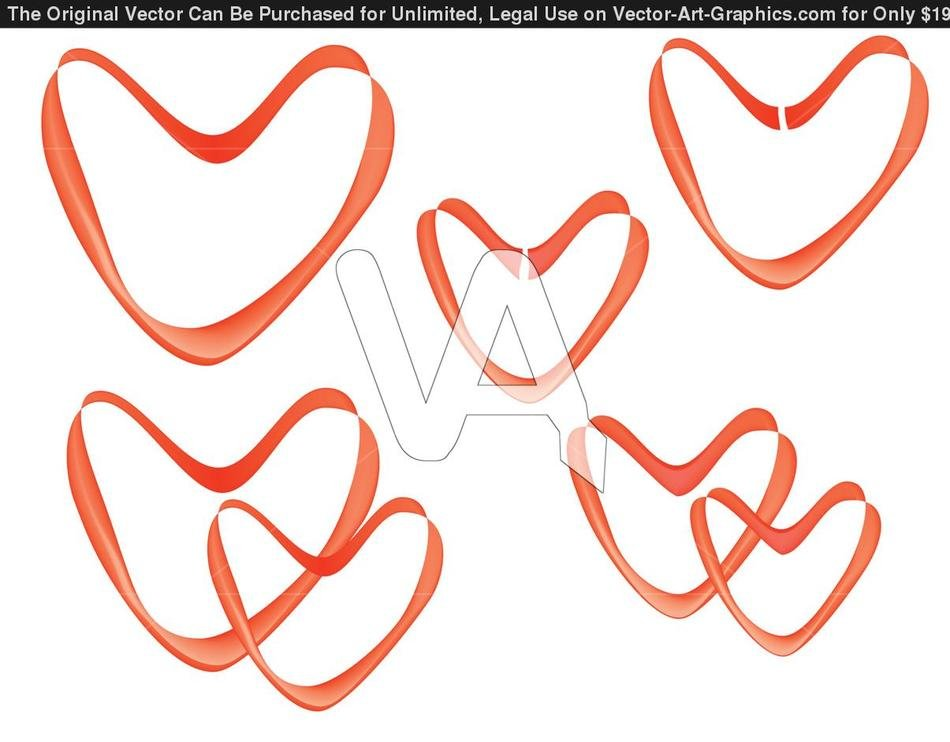 Red Ribbon hearts clipart