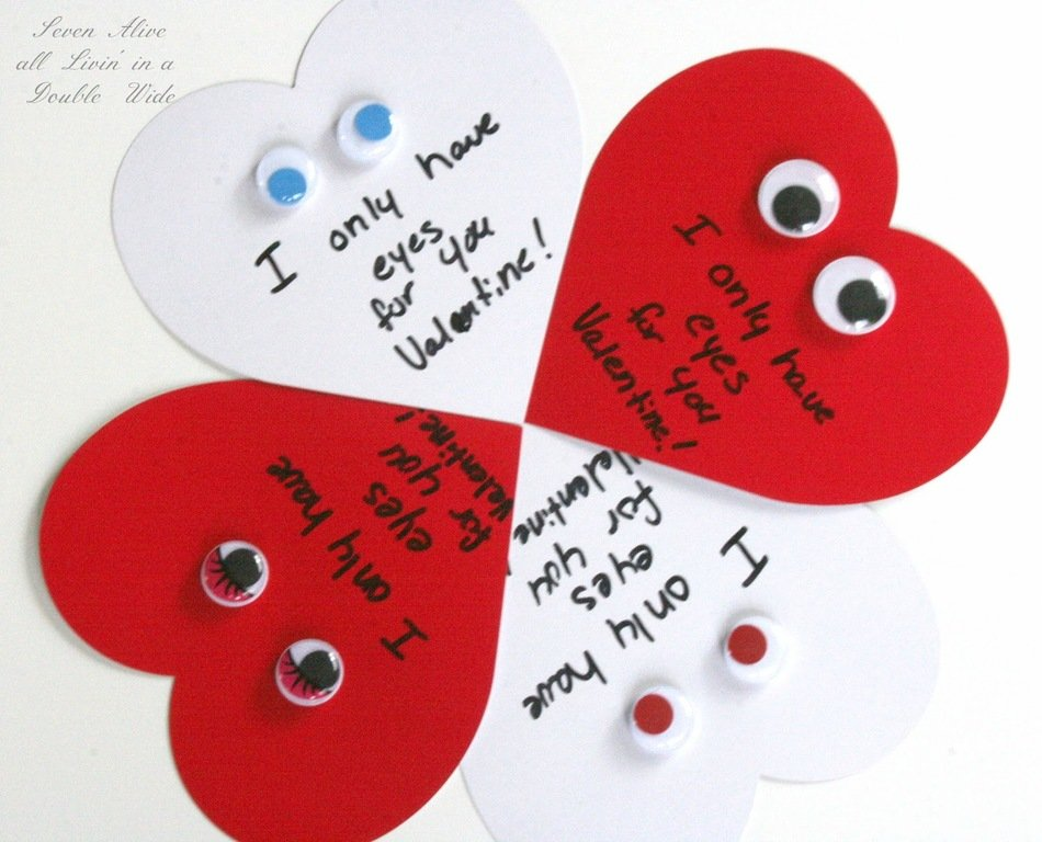 Homemade heart shaped Valentines Day Cards