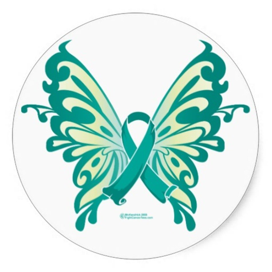 Ovarian Cancer Ribbon With Butterfly Tattoo Free Image
