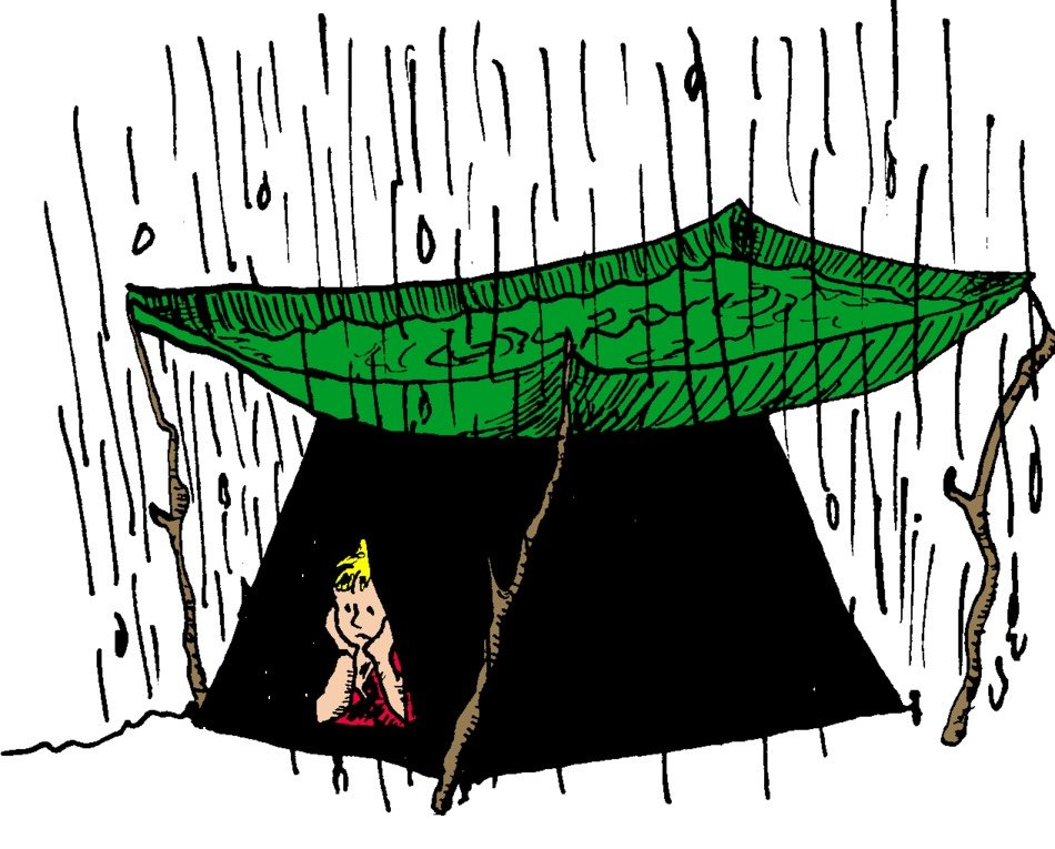 painted boy in a tent in the rain