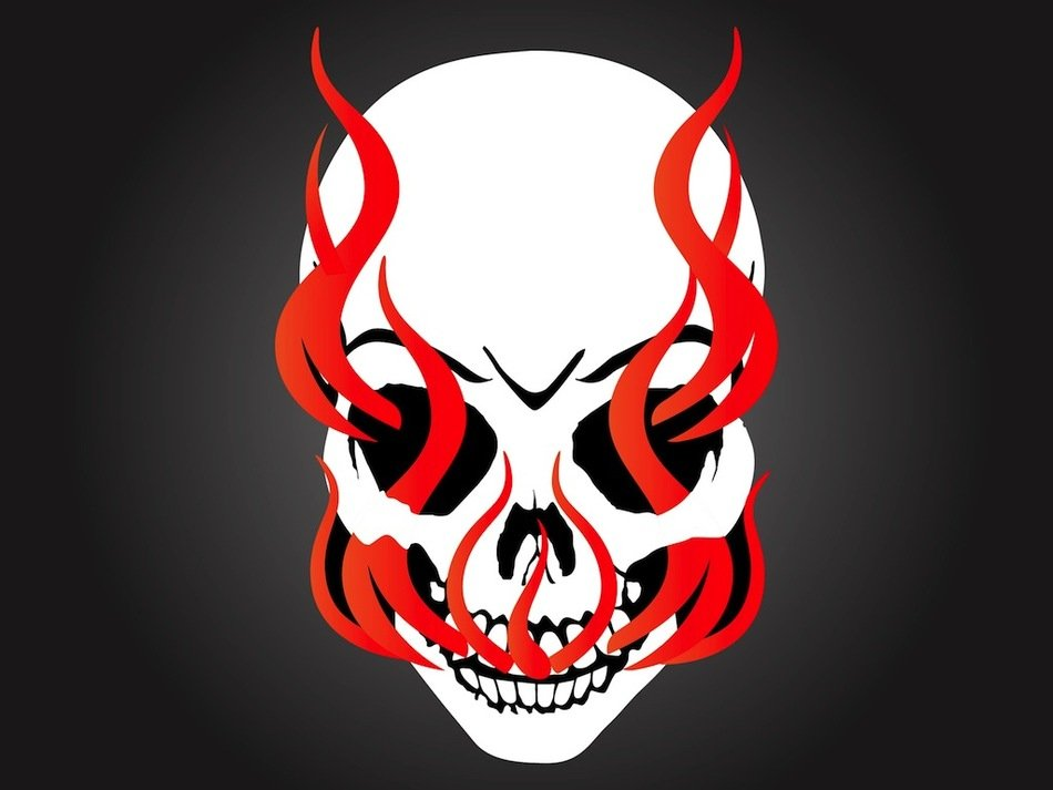 painted white skull and red flame