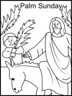 Black and white drawing of Palm Sunday clipart