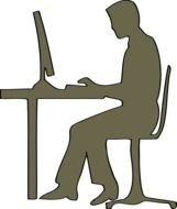 clipart of the man and computer silhouettes