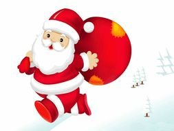 santa claus with bag as a picture for clipart