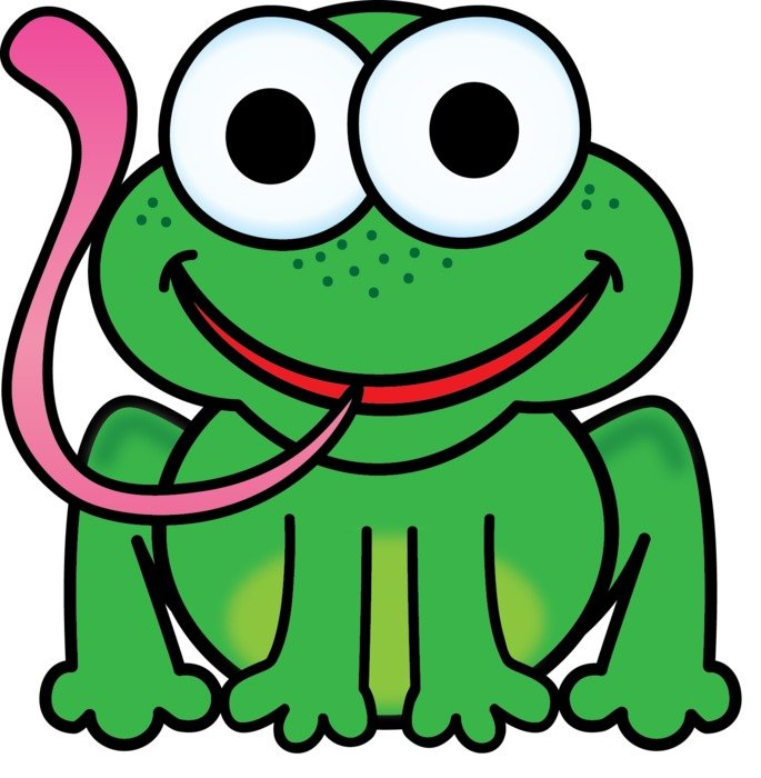 cartoon frog with stick out long tongue