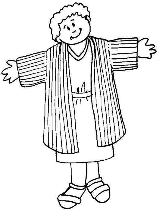 Black and white drawing of Joseph Coat clipart