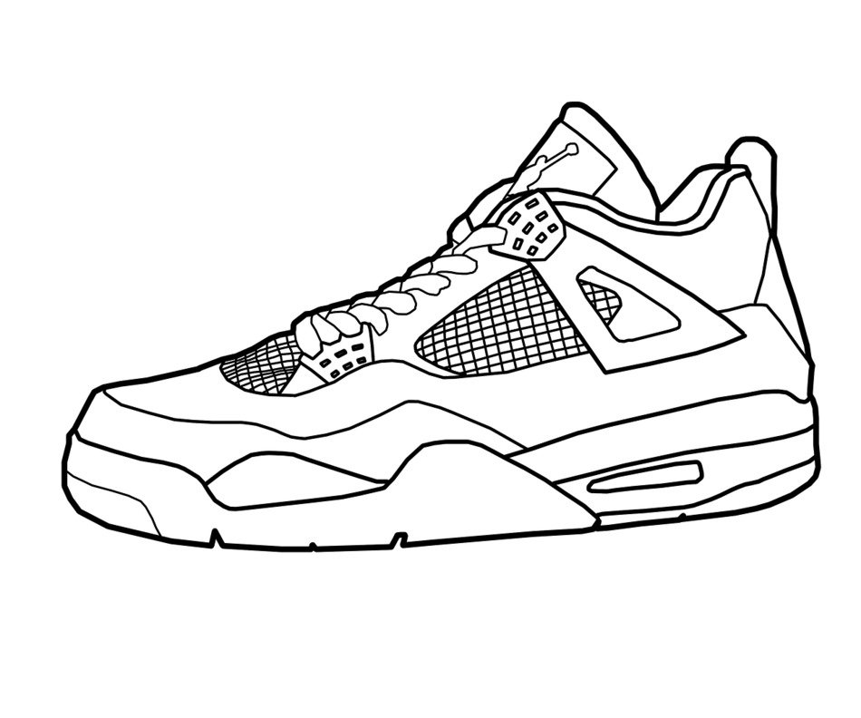male athletic Shoe, Coloring Page