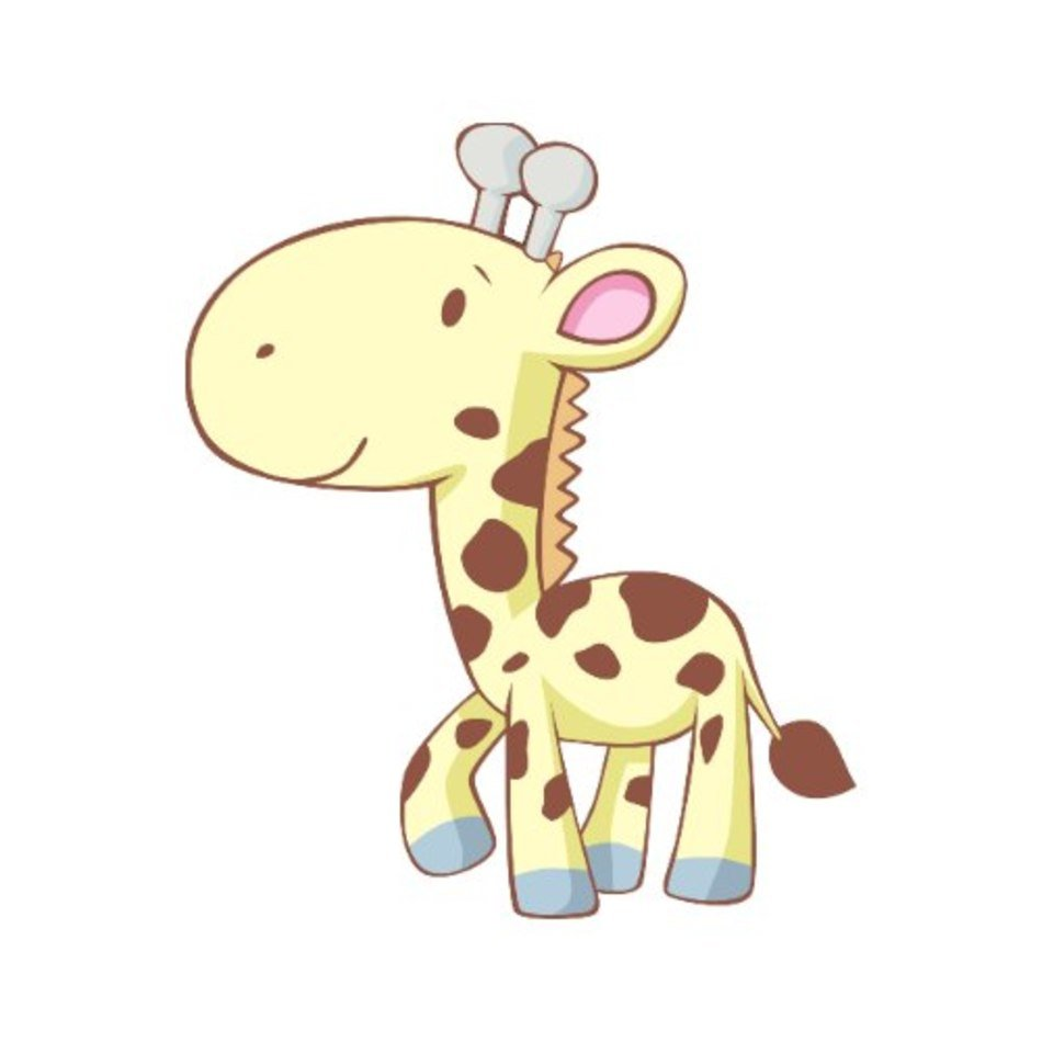 Cute Baby Giraffe Cartoon Drawing Free Image