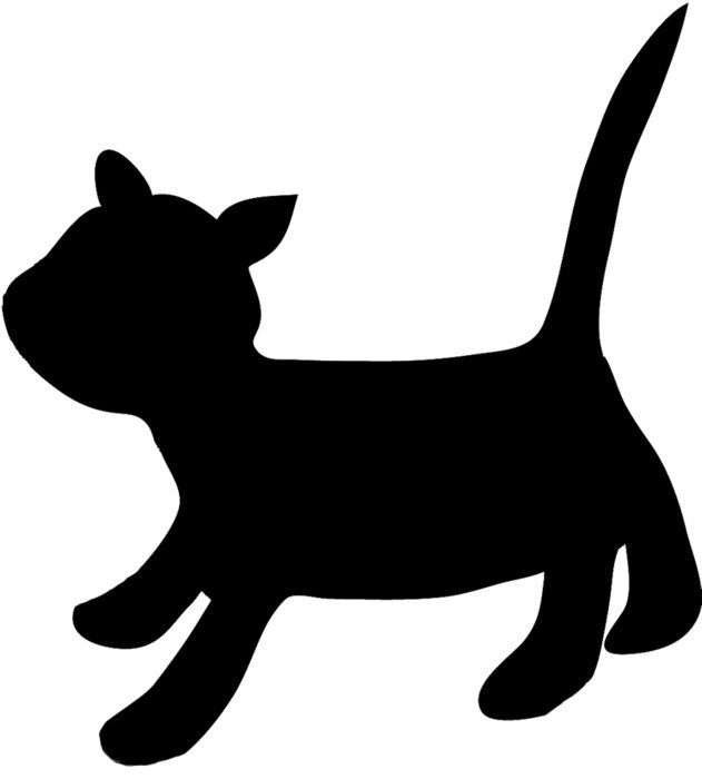 black silhouette of a kitten with a raised tail on a white background
