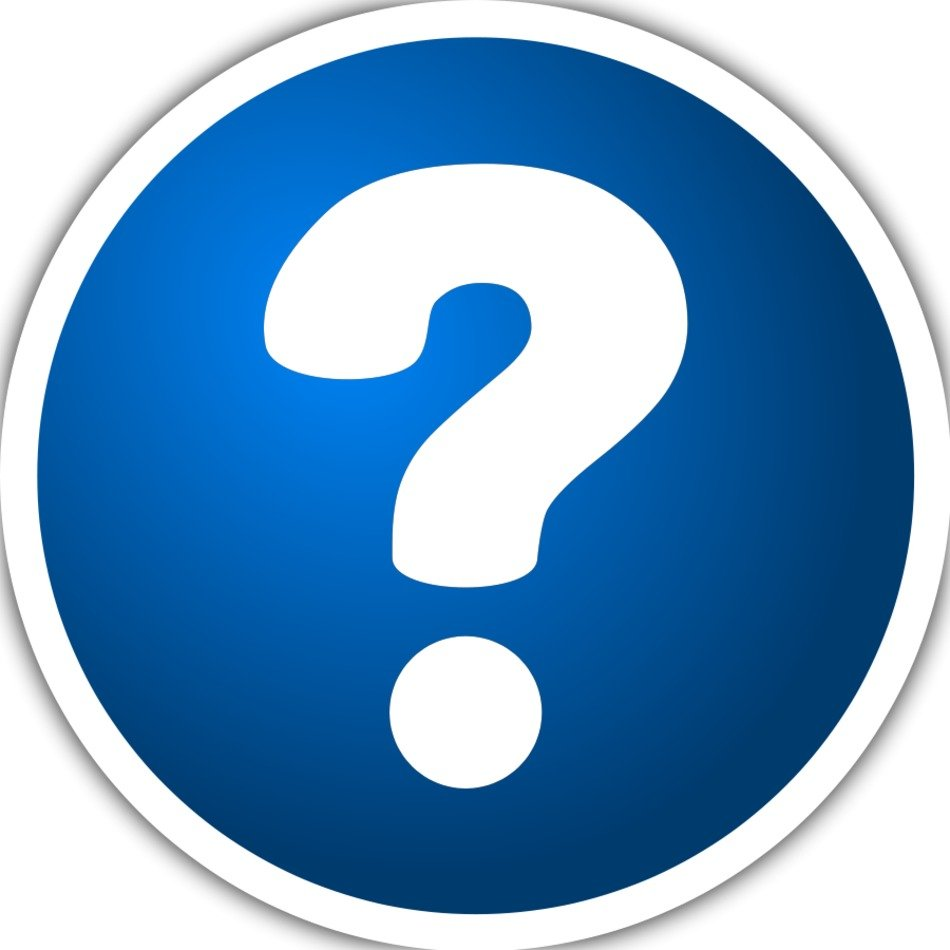 white Question Mark on blue button, Clip Art