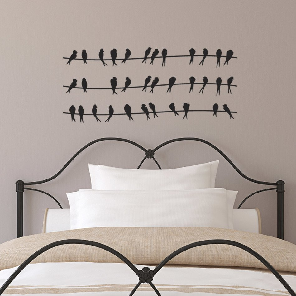Birds On Wires, Wall Art above bed
