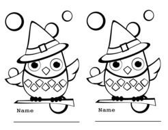 Black and white drawing of the Cute Owls clipart
