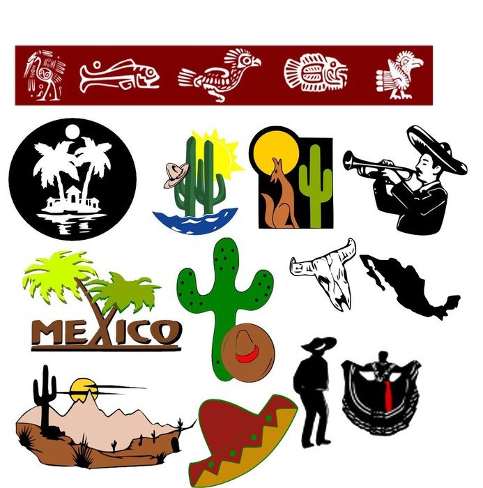 Mexico, set of colorful icons