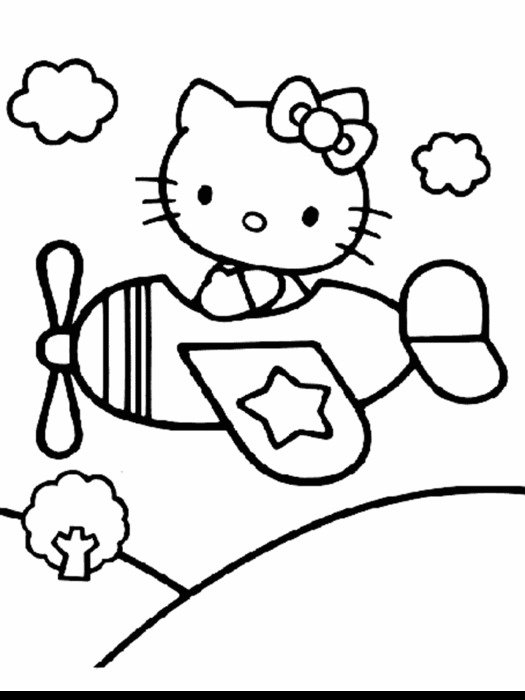 Black and white drawing of Hello Kitty on the plane clipart