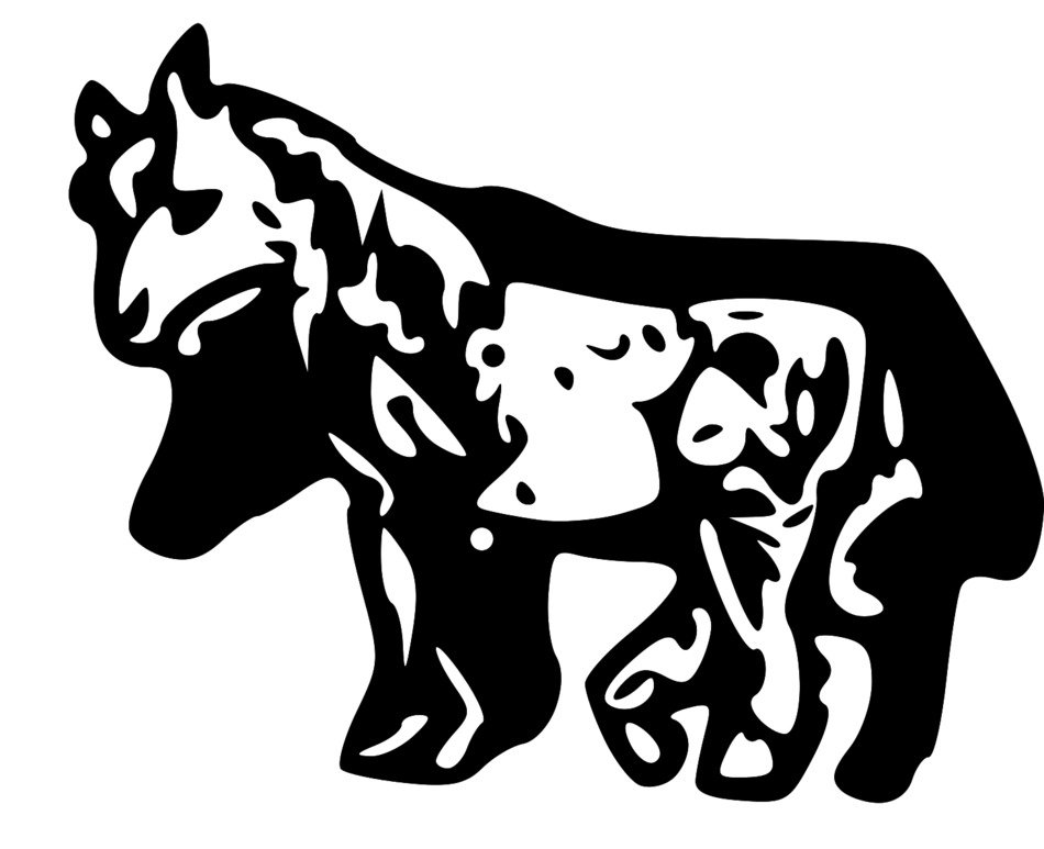 clipart black and white animals