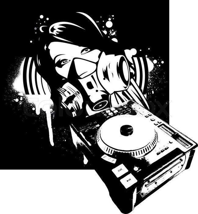 DJ Girl as a graphic illustration