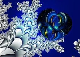 blue heart form fractal, ornamented background