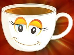 smiling cup with coffee, illustration