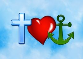 Cross, heart and anchor on a light blue background