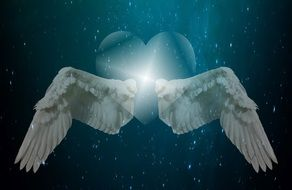 two wings and a heart on a background of the starry sky