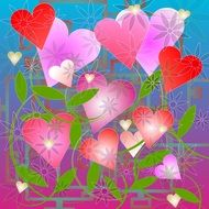 romantic valentine card many heart