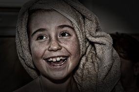 child girl face laugh towel on head