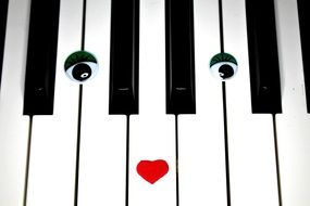 piano keys with eyes and lips