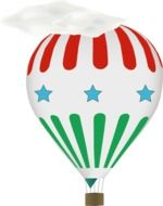 cartoon hot air balloon at white background