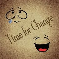 Clipart of time for change sign and emoticons