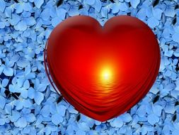 red heart on a background of blue stones