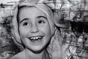 girl face laugh happy retro photo