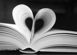 two book pages wrapped in a heart shape