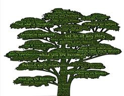 green tree with inscriptions