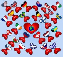 variety of hearts in the colors of national flags