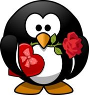 penguin with rose and box of chocolates