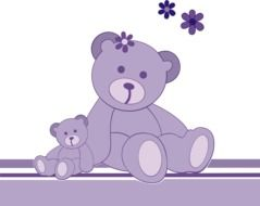Two violet teddy bears