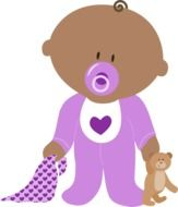 newborn in purple as a graphic image