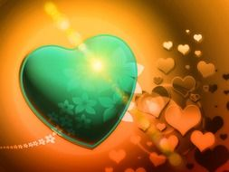green heart on a background of golden hearts