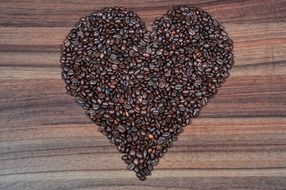 Heart made of the coffee beans