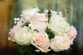 wedding bouquet of pastel roses