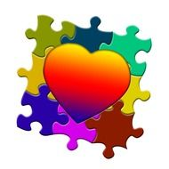 Colorful puzzle with the heart on it