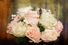 Wedding bouquet from pale pink roses