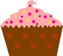 Big cupcake with hearts and prinkles for the St.Valentine's Day