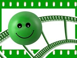 green smiley as filmstrip as graphic
