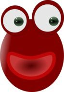 red frog's face with big eyes and happy smile
