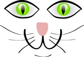 painted cat face with green eyes