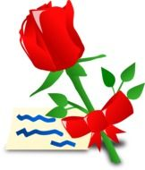 Red rose and letter for the Mother's Day clipart